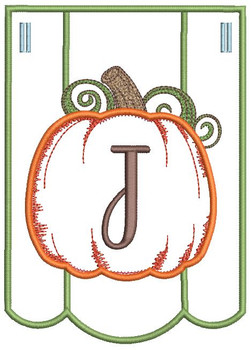 Pumpkin Bunting Alphabet Font - J - Embroidery Designs