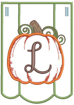 Pumpkin Bunting Alphabet Font - L - Embroidery Designs