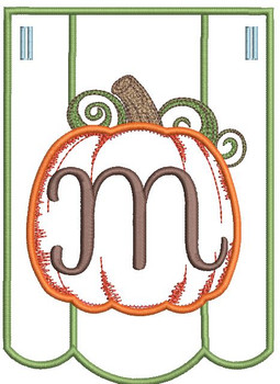 Pumpkin Bunting Alphabet Font - M - Embroidery Designs