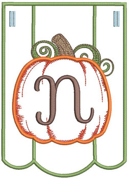 Pumpkin Bunting Alphabet Font - N - Embroidery Designs