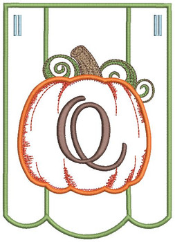 Pumpkin Bunting Alphabet Font - Q - Embroidery Designs