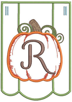 Pumpkin Bunting Alphabet Font - R - Embroidery Designs