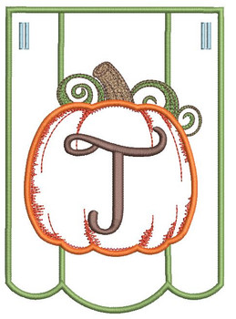 Pumpkin Bunting Alphabet Font - T - Embroidery Designs