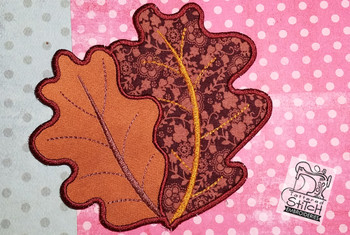 Double Oak Leaf Applique Coaster - Embroidery Designs