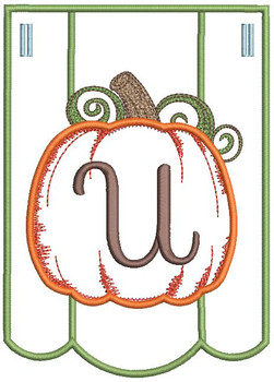 Pumpkin Bunting Alphabet Font - U - Embroidery Designs