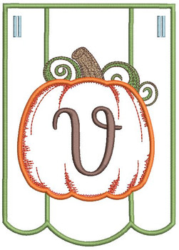 Pumpkin Bunting Alphabet Font - V - Embroidery Designs