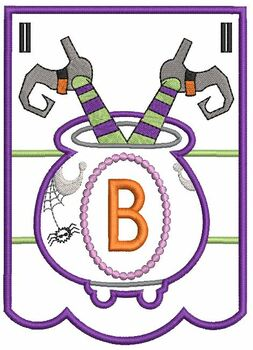 Cauldron Bunting Alphabet Letter B - Embroidery Design