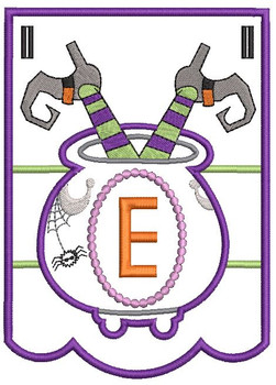 Cauldron Bunting Alphabet Letter E - Embroidery Design