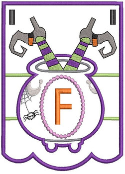 Cauldron Bunting Alphabet Letter F - Embroidery Design