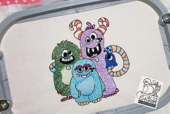 """Cute Monster Crew 5x7"""" Hoop, Machine Embroidery Pattern - Instant Download - Light Fill Stitching"""