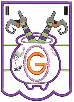 Cauldron Bunting Alphabet Letter G - Embroidery Design