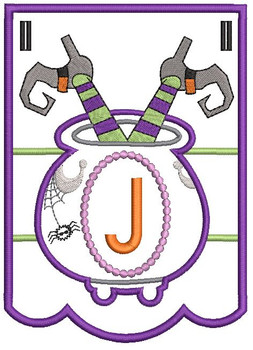 Cauldron Bunting Alphabet Letter J - Embroidery Design