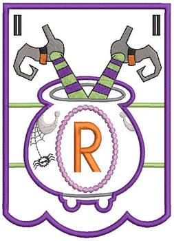 Cauldron Bunting Alphabet Letter R - Embroidery Design