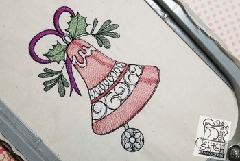 """Vintage Bell 1  - Fits into a 5x7"""" & 6X11"""" hoop - Instant Downloadable Machine Embroidery - Light Fill Stitch"""