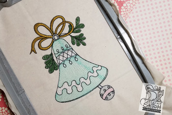 """Vintage Bell 2  - Fits into a 5x7"""" & 6x11"""" hoop - Instant Downloadable Machine Embroidery - Light Fill Stitch"""