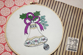 """Vintage Bell 4  - Fits into a 5x7"""" & 6x11"""" hoop - Instant Downloadable Machine Embroidery - Light Fill Stitch"""