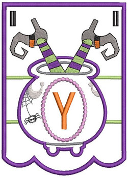 Cauldron Bunting Alphabet Letter Y - Embroidery Design