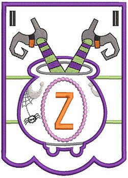 Cauldron Bunting Alphabet Letter Z - Embroidery Design