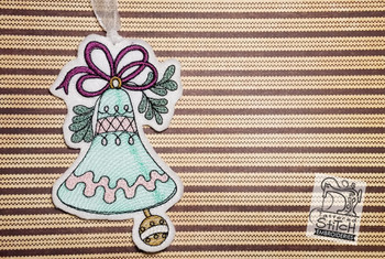 """Vintage Bell 2 Ornament  - Fits into a 5x7"""" hoop - Instant Downloadable Machine Embroidery - Light Fill Stitch"""