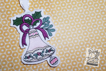 """Vintage Bell 4 Ornament  - Fits into a 5x7"""" hoop - Instant Downloadable Machine Embroidery - Light Fill Stitch"""