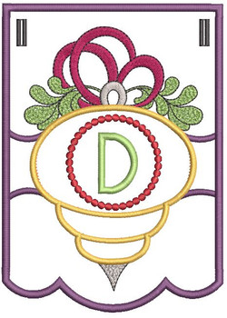 Ornament Bunting Alphabet Letter D - Embroidery Designs
