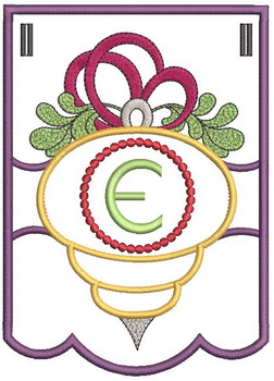 Ornament Bunting Alphabet Letter E - Embroidery Designs
