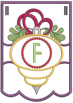 Ornament Bunting Alphabet Letter F - Embroidery Designs