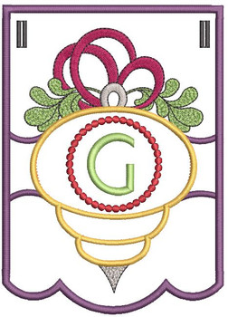 Ornament Bunting Alphabet Letter G - Embroidery Designs