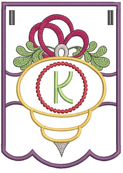 Ornament Bunting Alphabet Letter K - Embroidery Designs