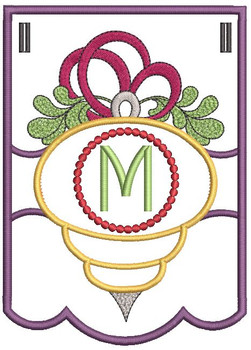 Ornament Bunting Alphabet Letter M - Embroidery Designs