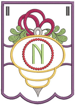 Ornament Bunting Alphabet Letter N - Embroidery Designs