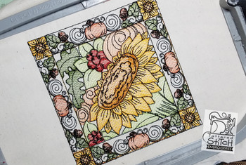 """Sunflower Block  - Fits into a 5x7"""" & 8x8"""" hoop - Instant Downloadable Machine Embroidery - Light Fill Stitch"""