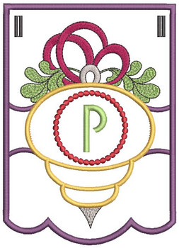 Ornament Bunting Alphabet Letter P - Embroidery Designs