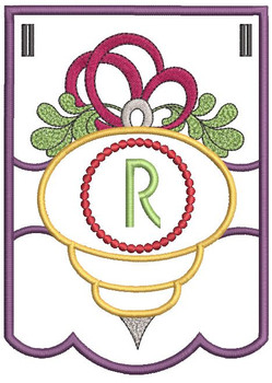 Ornament Bunting Alphabet Letter R - Embroidery Designs