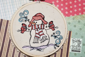 """Winters Snowman with Cardinals  - Fits into a 4x4"""" & 5x7"""" hoop - Instant Downloadable Machine Embroidery - Light Fill Stitch"""