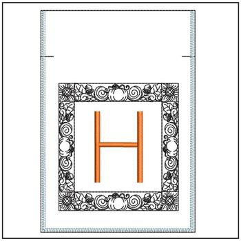 Fall Harvest Font Bag - H - Embroidery Design