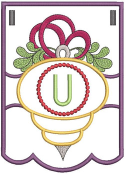 Ornament Bunting Alphabet Letter U - Embroidery Designs