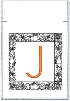 Fall Harvest Font Bag - J - Embroidery Design