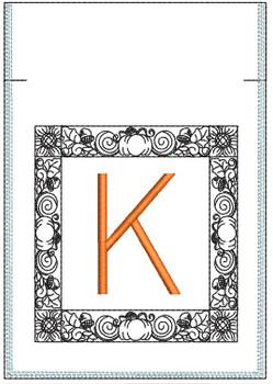 Fall Harvest Font Bag - K - Embroidery Design