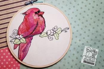 """Cardinal on Branch - Fits a 5x7"""" & 6x11"""" hoop - Instant Downloadable Machine Embroidery - Light Fill Stitch"""