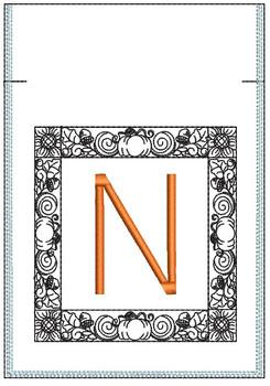 Fall Harvest Font Bag - N - Embroidery Design