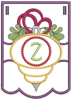 Ornament Bunting Alphabet Letter Z - Embroidery Designs