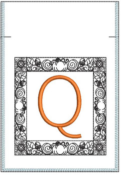 Fall Harvest Font Bag - Q - Embroidery Design