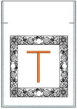 Fall Harvest Font Bag - T - Embroidery Design