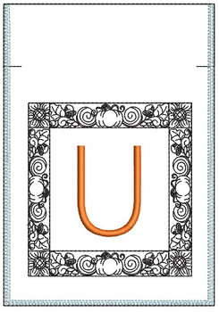 Fall Harvest Font Bag - U - Embroidery Design