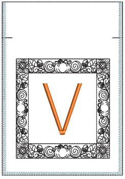 Fall Harvest Font Bag - V - Embroidery Design