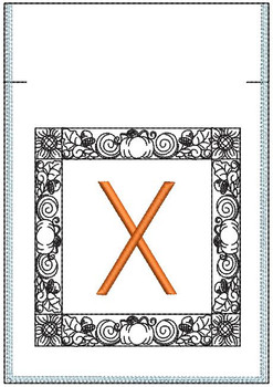Fall Harvest Font Bag - X - Embroidery Design