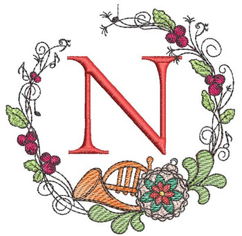 French Horn Wreath N Font - Embroidery Designs