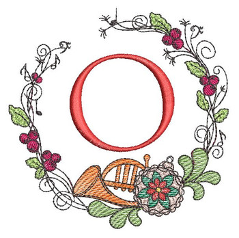 French Horn Wreath O Font - Embroidery Designs