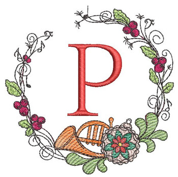 French Horn Wreath P Font - Embroidery Designs